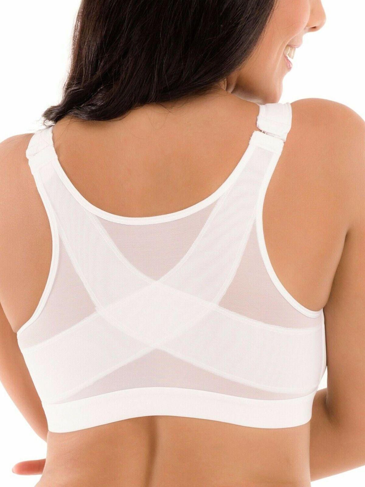 Women/'s Posture Corrector Bra Wireless Back Support Lift Up Front Closure Bra