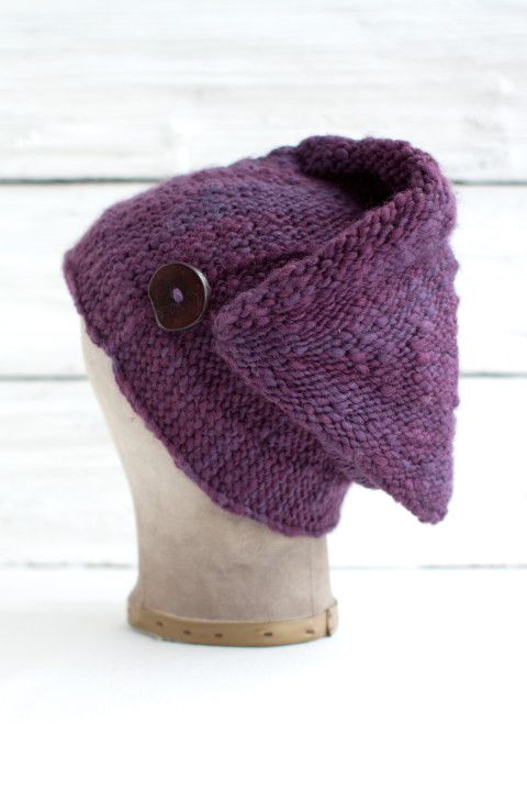 Free knitting pattern for Cold Brook Hat. Very unusual style with a ...