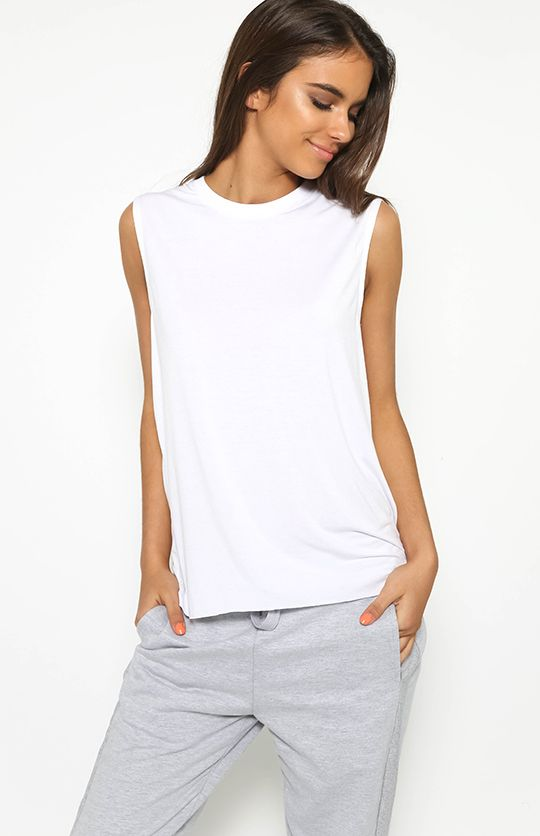 First Base Boxy Muscle Tank - White from peppermayo.com