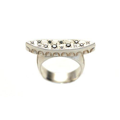 Black Diamond and Silver Constellation Ring | Kristen Dorsey Designs $420  #blackdiamond #sterlingsilver #nativejewelry