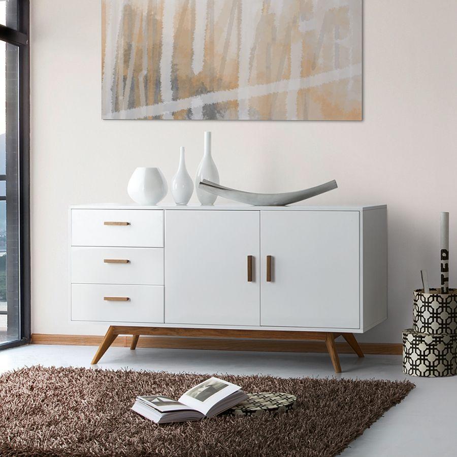 sideboard lindstr m eiche teilmassiv hochglanz wei home24 living room pinterest. Black Bedroom Furniture Sets. Home Design Ideas