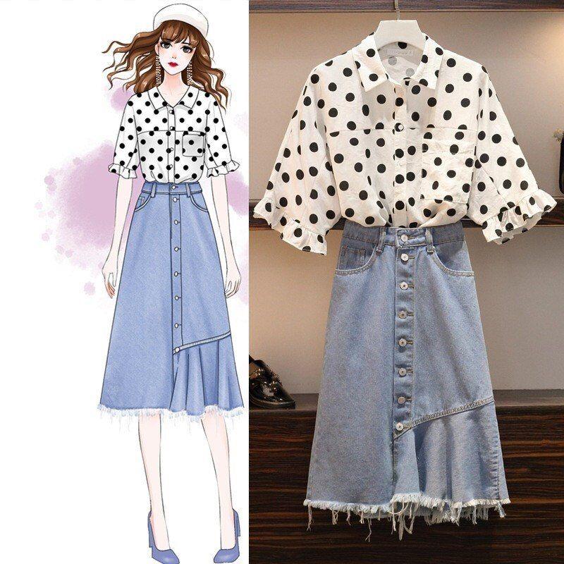 US $33.0 |4Xl Korean Style Polka Dot 2 Pieces Set Women Summer Shirt And Denim Skirt Sets Two Pieces Set Short Plus Size Beach Outfit|Women's Sets|   - AliExpress