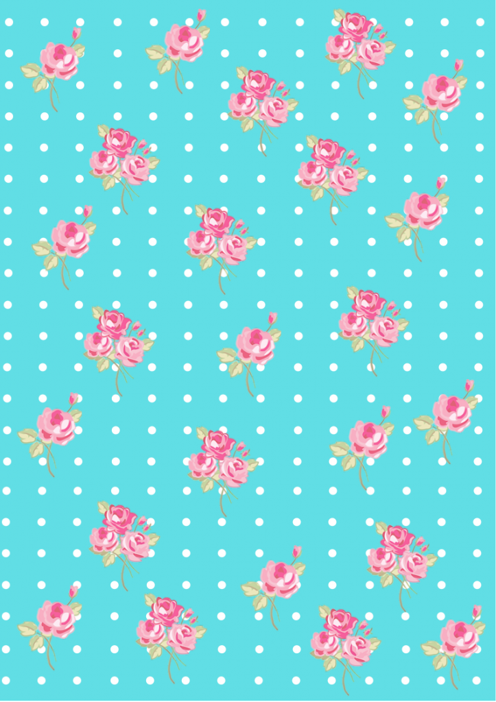 Floral Shabby Chic Pattern Paper Tiffany Blue 61dfe5