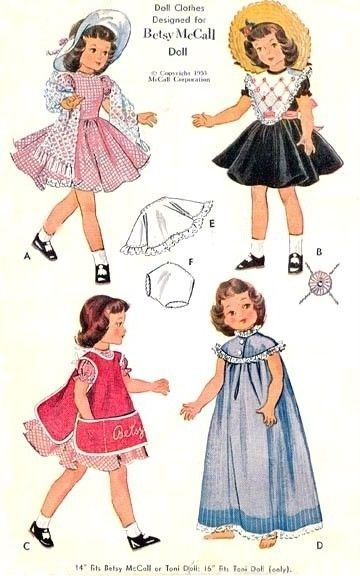 """VINTAGE 14"""" BETSY McCALL DOLL CLOTHES Pattern 1812 in   eBay"""