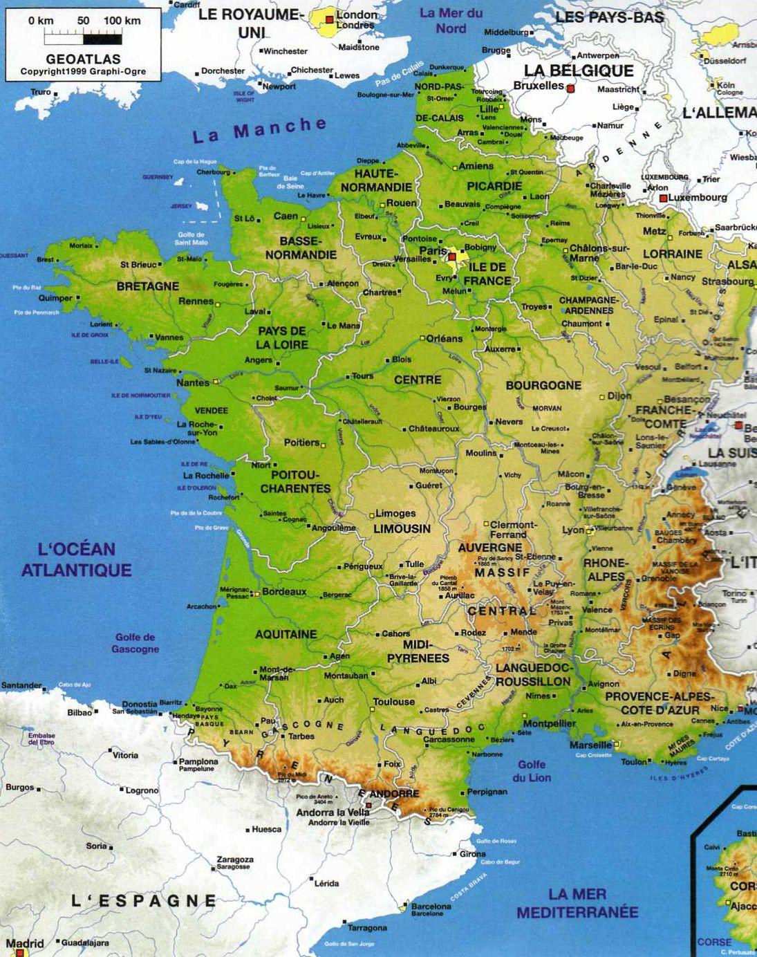 Carte Des Fleuves Du Monde : carte, fleuves, monde, Image�:, Infos, Carte, France, Villes, Principales, Fleuves