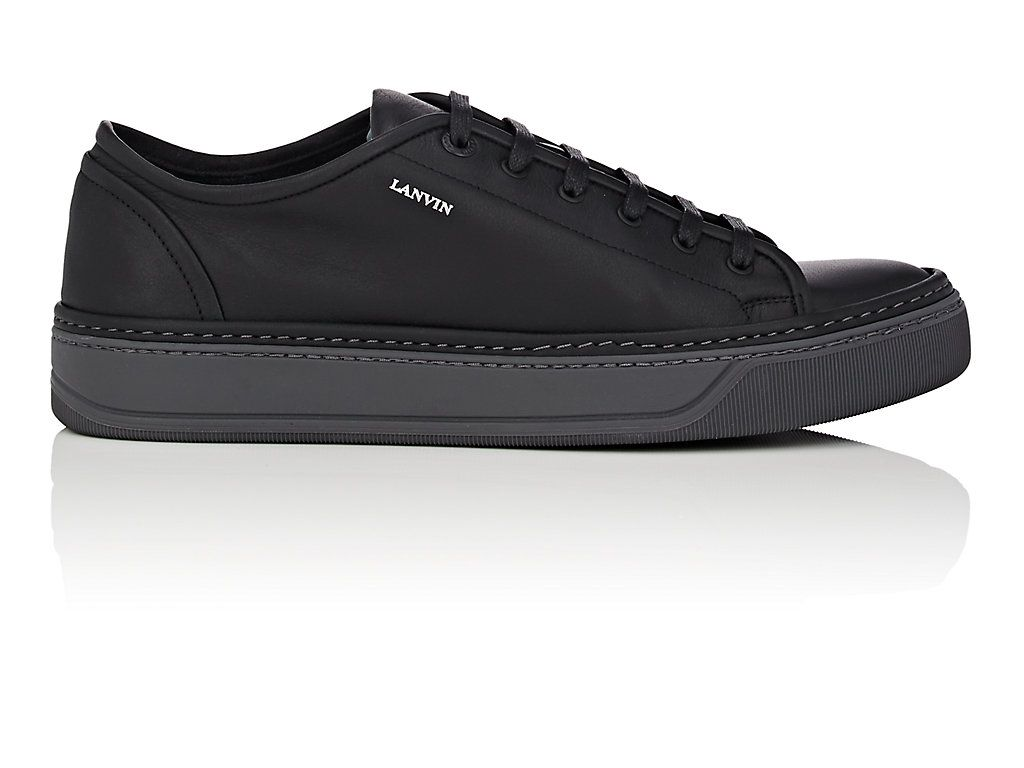 Mens Contrast-Sole Leather Sneakers Lanvin