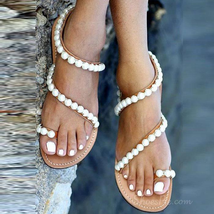 fc5154ecc97e Exquisite Pearls Beading Flat Sandals in 2019