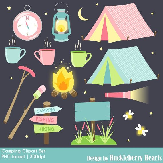 Camping Clipart Clip Art Digital Tent Printable Commercial Use