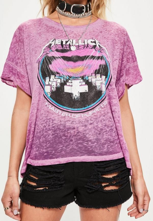 6dcc2f28a Pink Metallica Cropped Burnout T-Shirt - Missguided