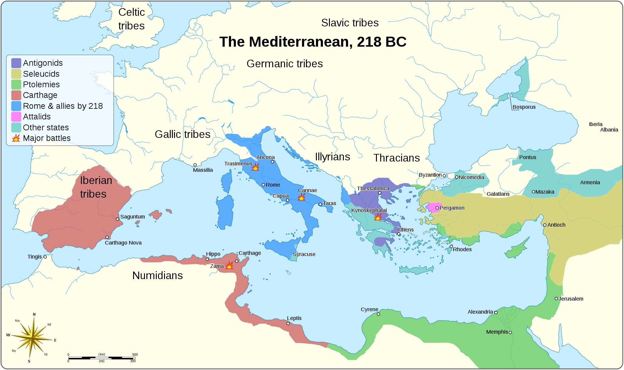 The Mediterranean, 218 BC | mapmania | World history map, Ancient ...