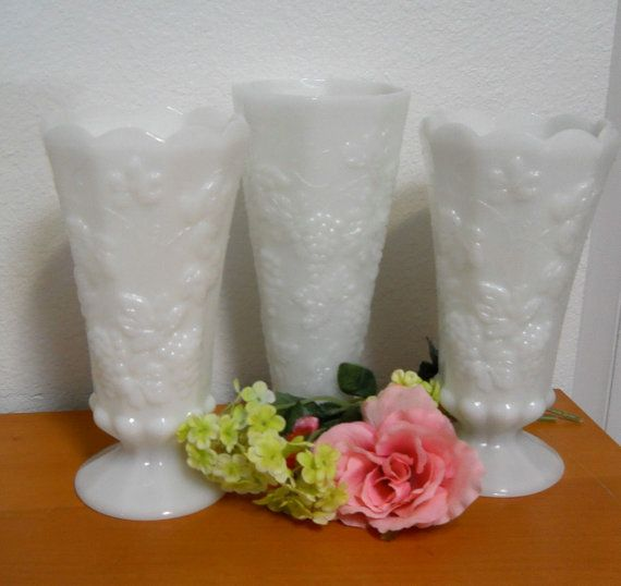 On Sale!  Vintage Milk Glass Vases, Set of 3 Tall White Glass Vases, Wedding Flower Vases, Table Settings Decor on Etsy, $22.00