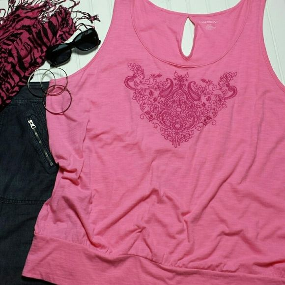 2a7e6e58e2514a Lane Bryant Plus 26 28 Embroidered Keyhole Tank An adorable summertime  essential! This bright