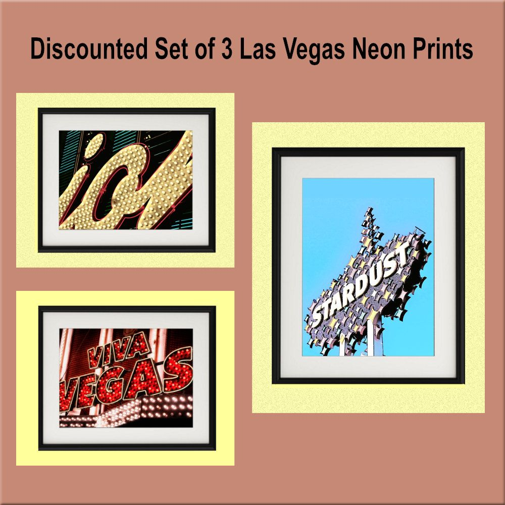 Wall Art,Discounted,Offer,Set,3,Vintage,Las Vegas,Neon,Signs,Kistch ...
