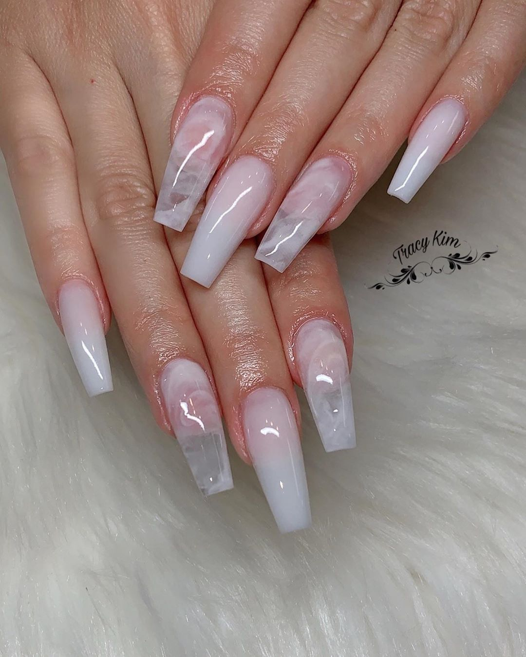 White Clear Marble What Do You Think Nailpro Nailpolish Naildesigns Nails Coffinna Clear Acrylic Nails Coffin Nails Designs Best Acrylic Nails