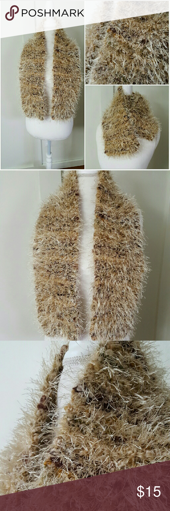 Beige and brown fuzzy scarf | Scarf wrap, Accessories and Brown