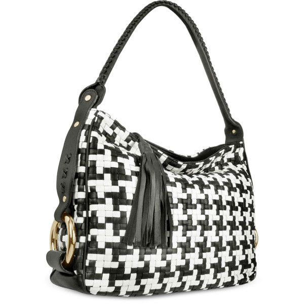 Fontanelli Handbags Black and White Houndstooth Woven Leather Tote Bag ($580) ❤ liked on Polyvore featuring bags, handbags, tote bags, zip tote bag, zip tote, pattern tote bag, black and white tote bag and man bag