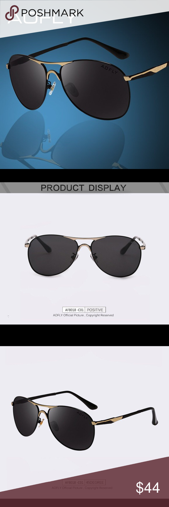 91ef76658cd AOFLY Authentic Men s Aviator Sunglasses