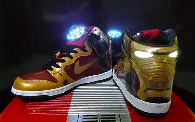 64284907c7f5 These custom Nike Iron Man light-up shoes were especially made for Tony  Stark. These trademark red shoes light up when you walk and feature LED  lights that ...