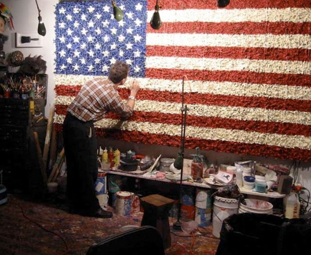 Dave Cole's Flags made with melted toy soldiers.