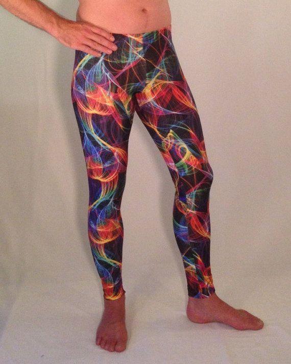 UV Lightning Psychedelic Men's Leggings // Festival Meggings // Burning Man Leggings // UV Black Light Pants 3cbMs1