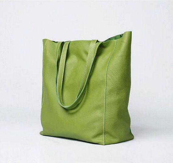 Black Green Leather Tote Bag Women Minimalist by JoyandSurprise