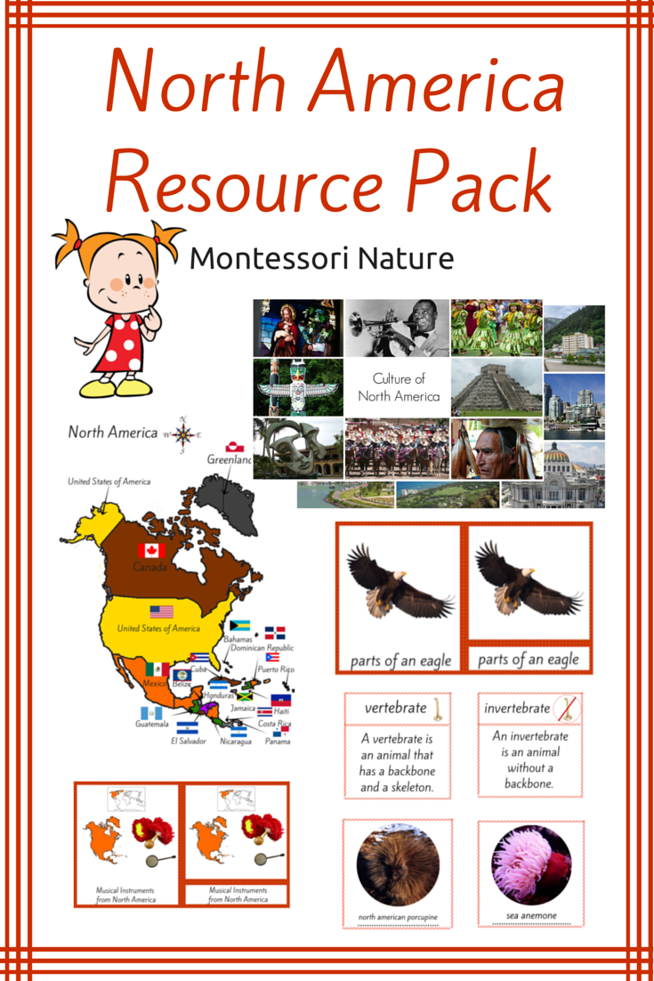 north america unit pack montessori educational resource contains