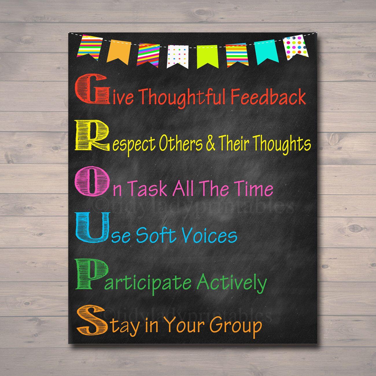 Classroom Decor Download ~ Groups classroom poster decor