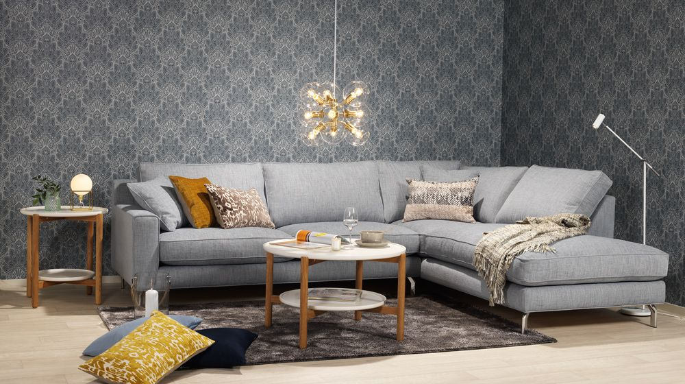 Elegant, skandinaviskt och aningens retro. Ljusblå byggbar soffa. AREZZO, Em home