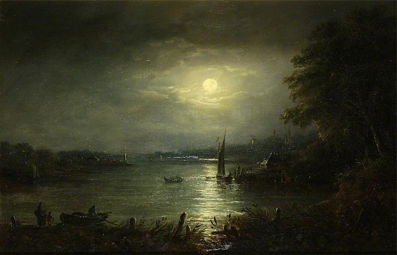 John Of Ipswich Moore Moonlit River Landscape Scary Paintings Moon Art Beautiful Art