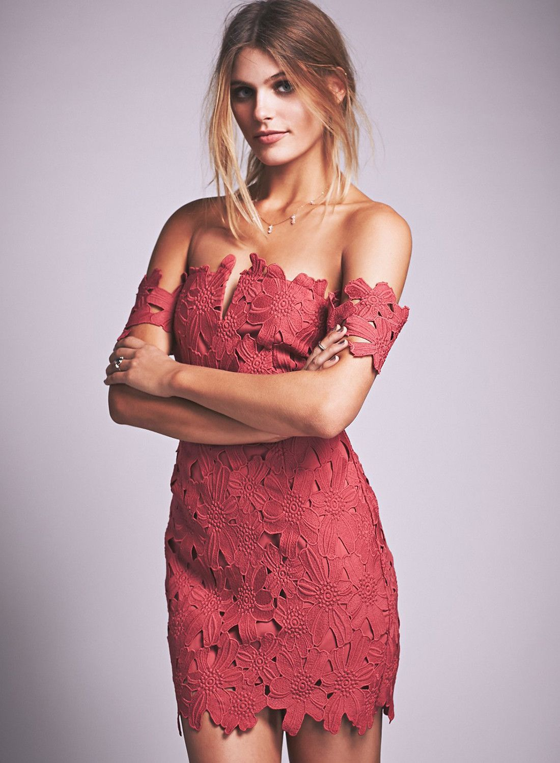 Red lace off shoulder bodycon party dress fashion inspo