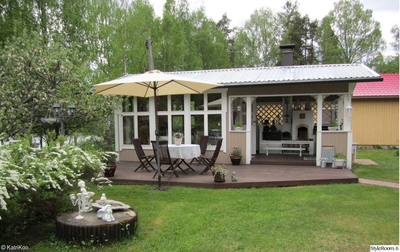 piha,aurinkovarjo,terassi,pihakoristeet,kesäkeittiö