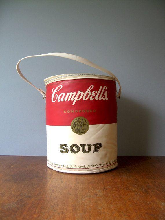 Vintage 60 S Campbell S Soup Can Bag Pop Art Etsy Campbell Soup Campbell S Soup Cans Campbells