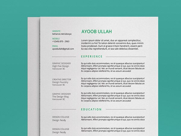 Free Minimal Illustrator Resume Template For Any Industry  Free
