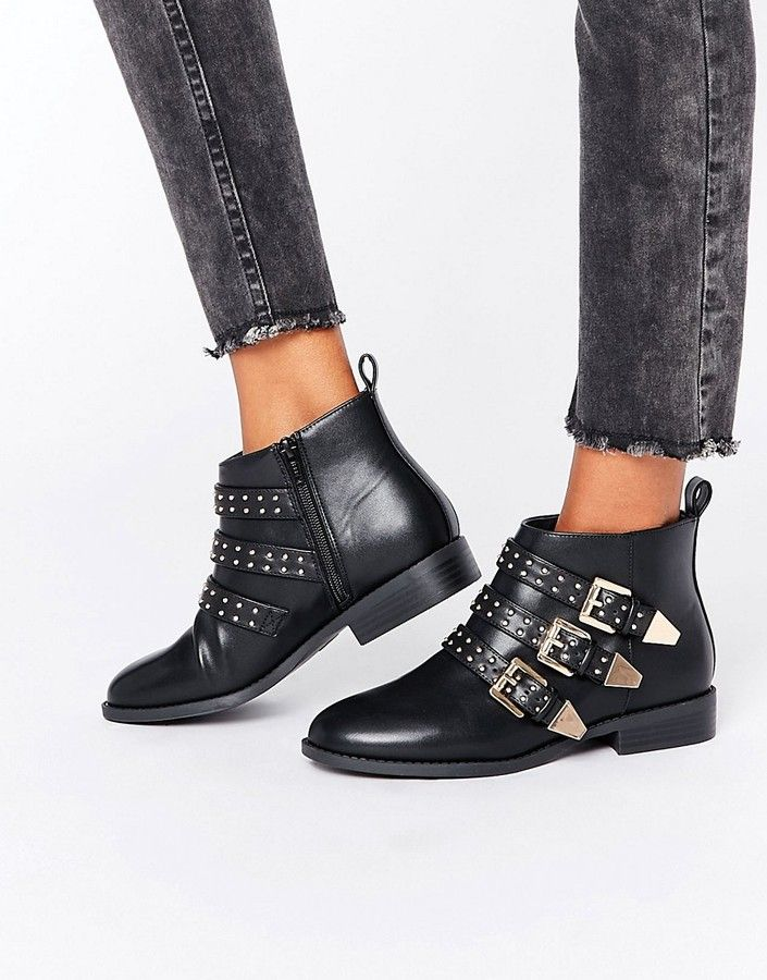 5b482d181cc Faith Brixton Stud Strap Flat Ankle Boots | Booties & Boots ♥ in ...