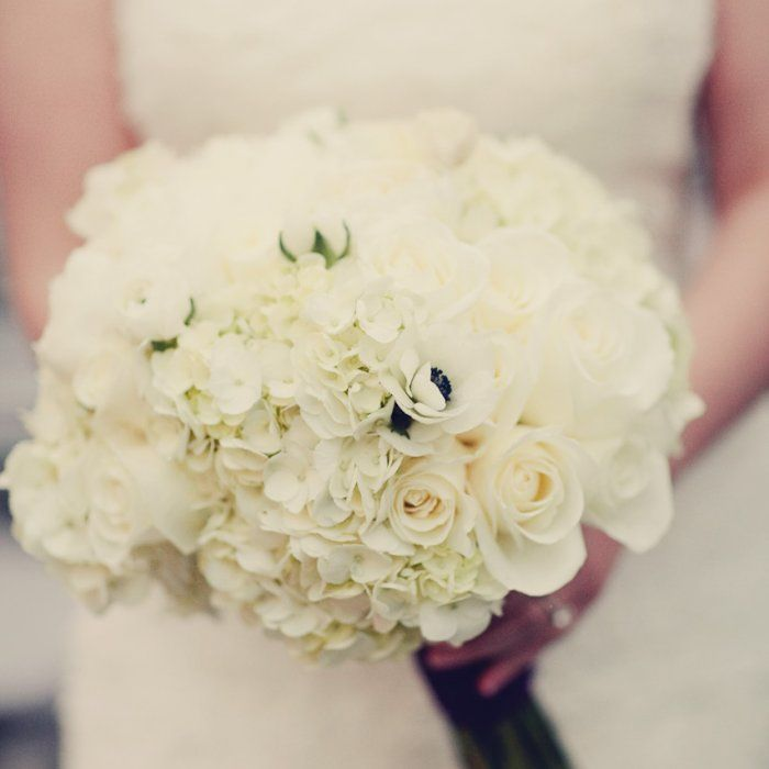 white bridal bouquet of peonies roses hydrangeas ranunculus and anemonies - White Garden Rose Bouquet