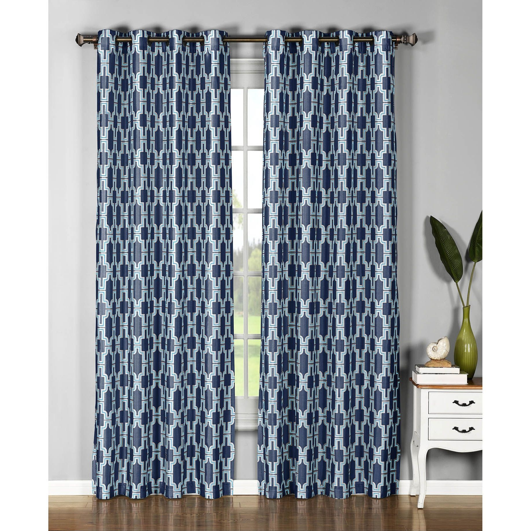 Window Elements Wesley Faux Silk 96 Inch Extra Wide Grommet Curtain Panel Pair