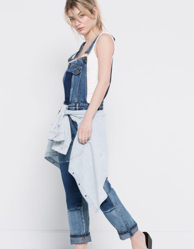 pull&bear - dames - tuinbroeken en jumpsuits - denim tuinbroek met