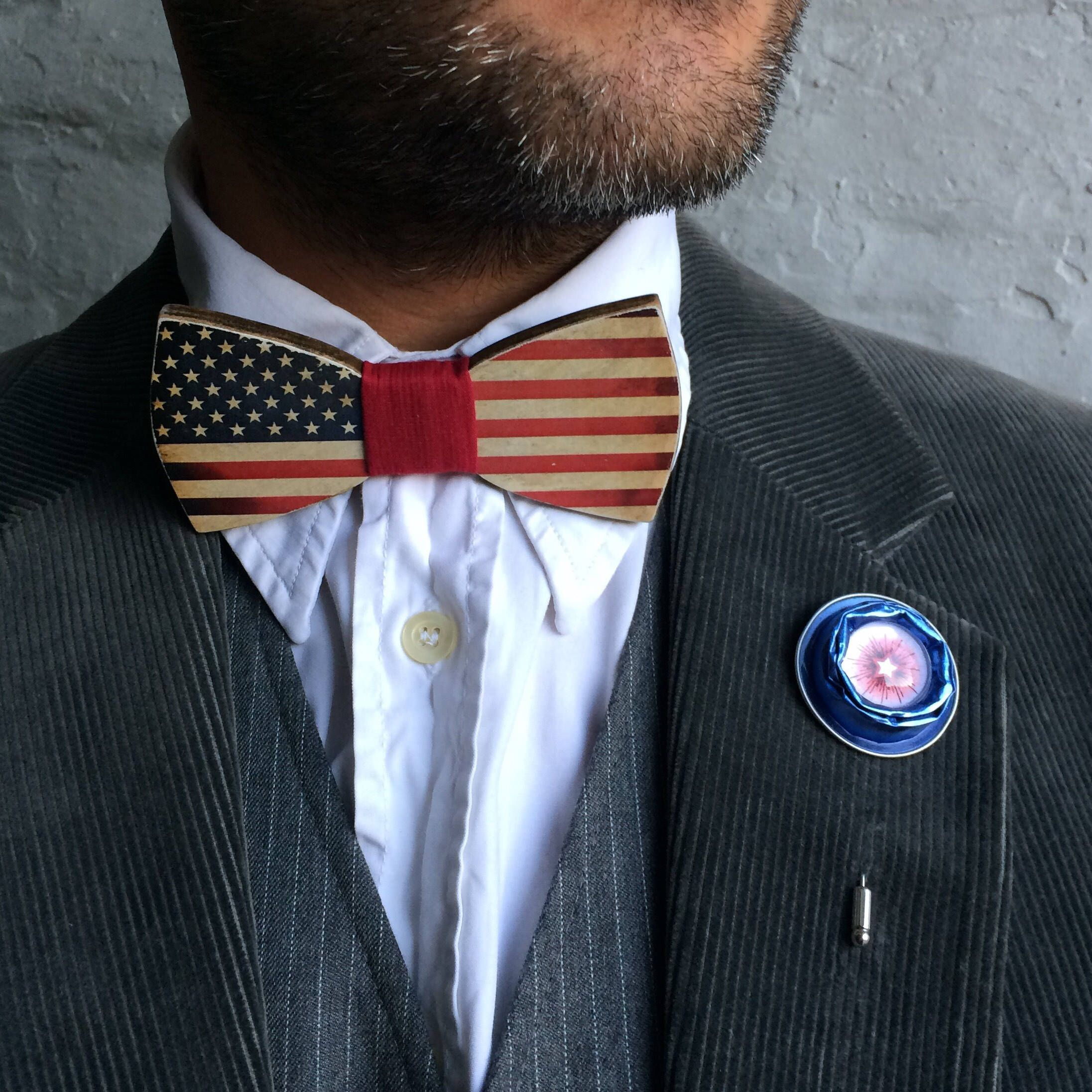 Wooden Bow Tie Classic Shape With American Flag Etsy Wooden Bow Tie American Flag Colors American Flag Lapel Pin