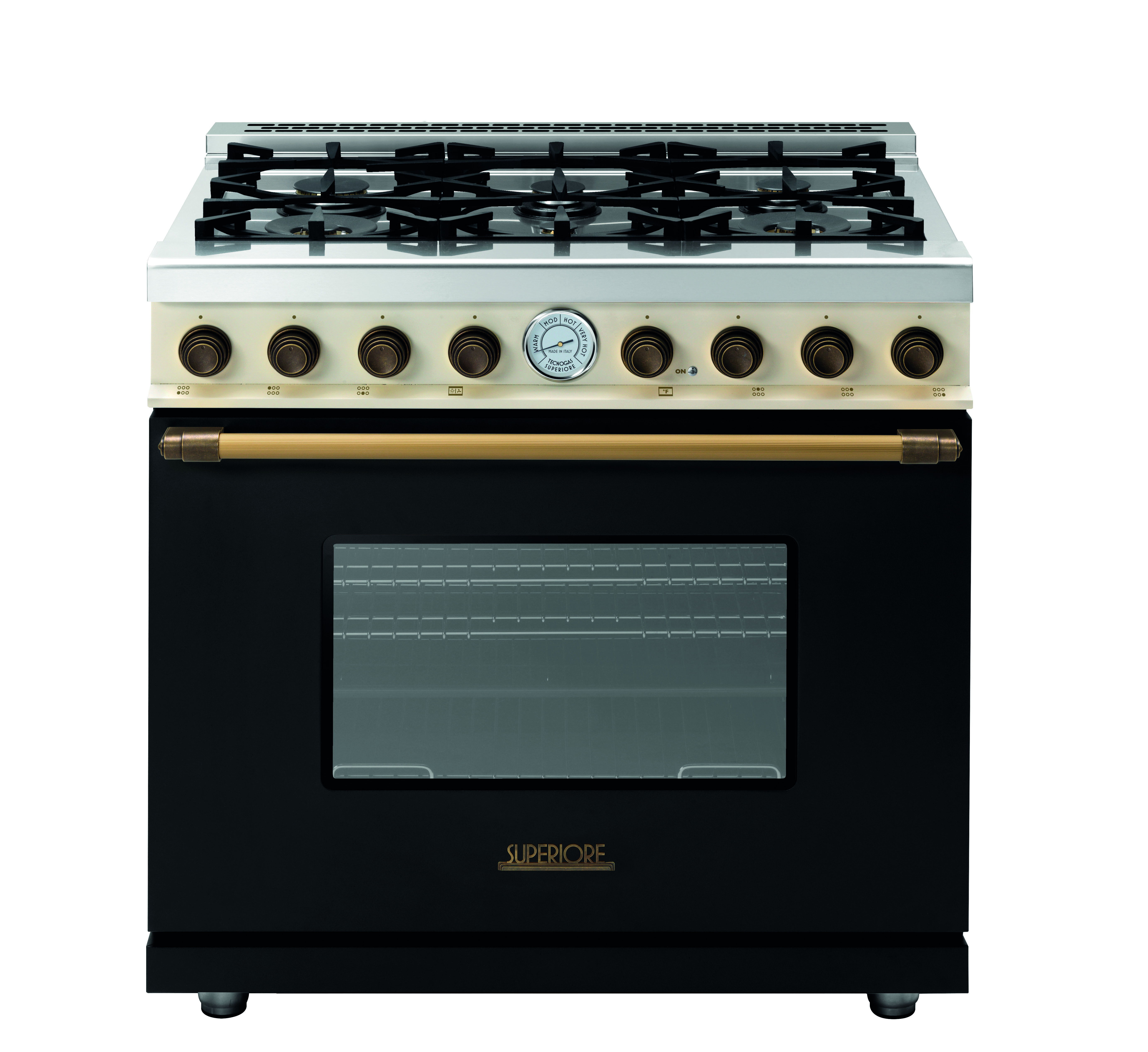 Range Deco 36 Classic Black Matte And Cream Dual Color With Bronze Trim 6 Gas Burners Extra Large Gas Oven Equipped With 4 C Gas Oven Oven Classic Kitchens