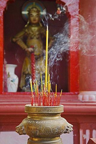 Incense burning in the Ngoc Hoang Pagoda Ho Chi Minh City Vietnam