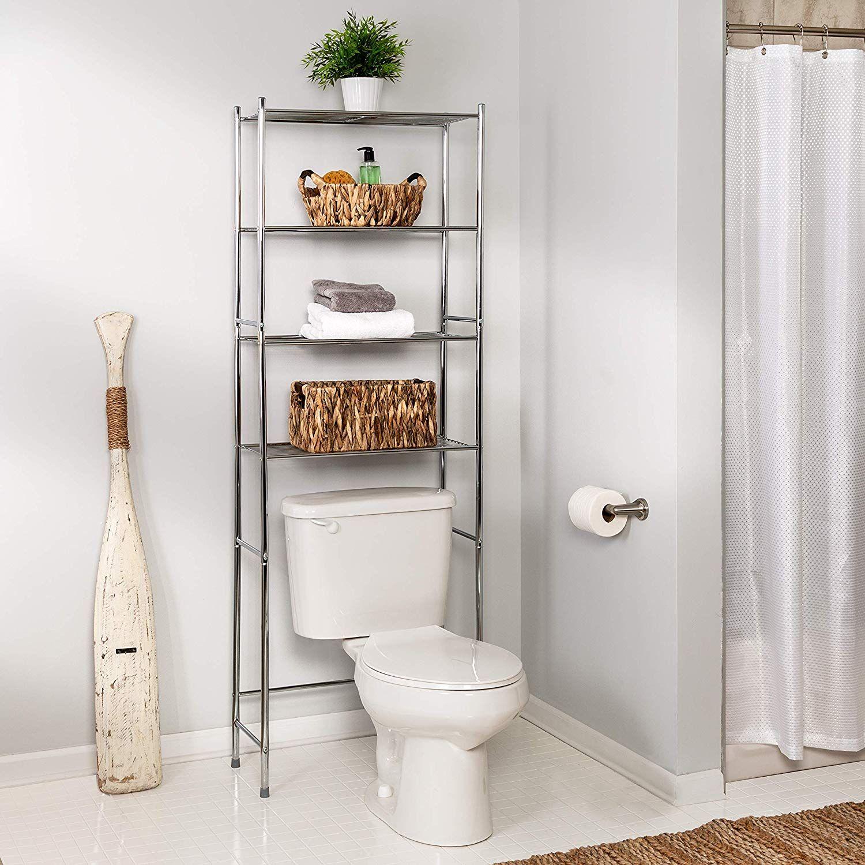 Honey Can Do Bth 05281 4 Tier Metal Bathroom Shelf Space Saver In 2020 Toilet Storage Bathroom Storage Bathroom Etagere