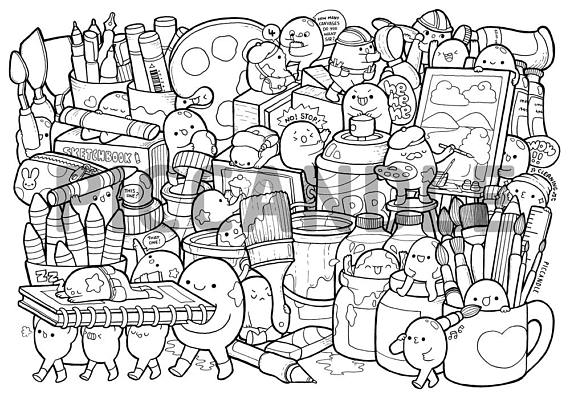 Art Supplies Doodle Coloring Page Printable Cute Kawaii Coloring Page For Kids And Adults Coloring Books Doodle Drawings Doddle Art