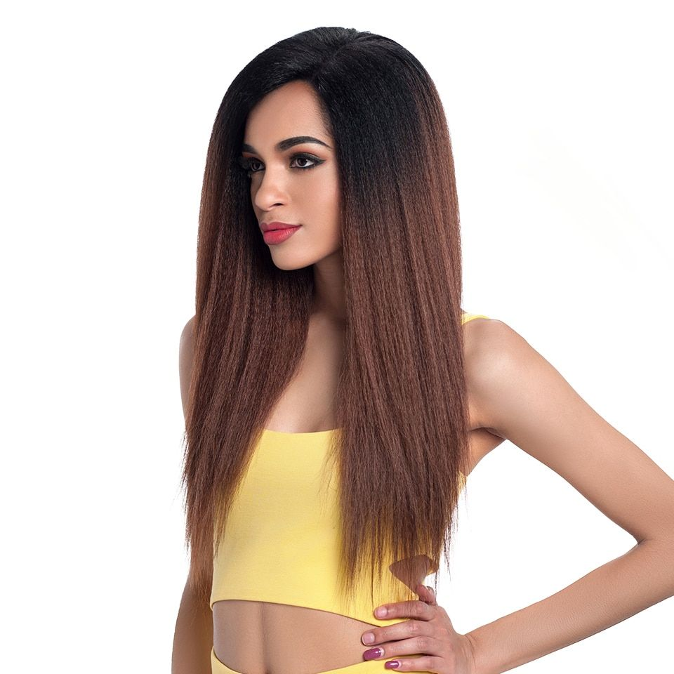 Ombre Long Kinky Straight Lace Synthetic Hair Wig - HairOnAir -   17 hairstyles Straight life ideas