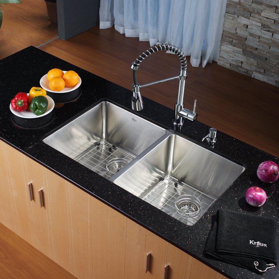 Kitchen Sink Shop Kraus Handmade 16-Gauge Double-Basin Undermount ...