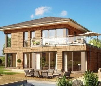 High Quality Fertighaus Moderne Stadtvilla Evolution_154_V11_Bien Zenker   Haus Mit  Walmdach, Holz Fassade, Terrasse Und Dachterrasse