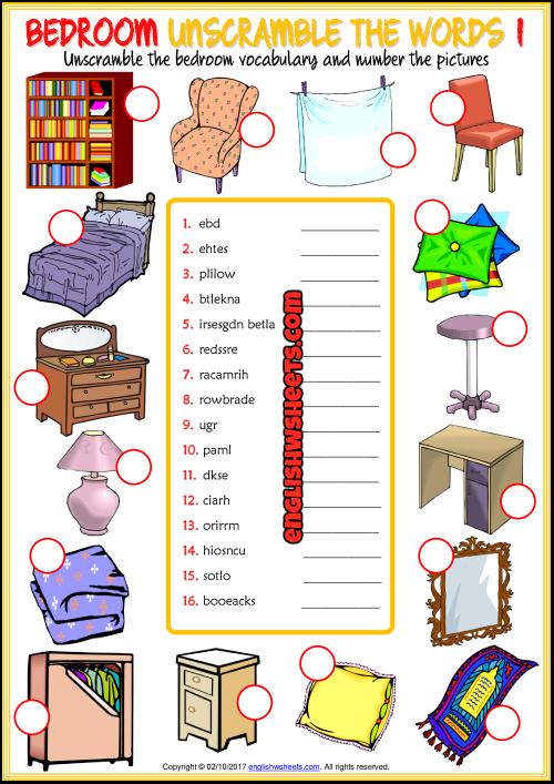 Bedroom Unscramble The Words ESL Worksheets For Kids English Worksheets  For Kids, Unscramble Words, Word Games For Kids