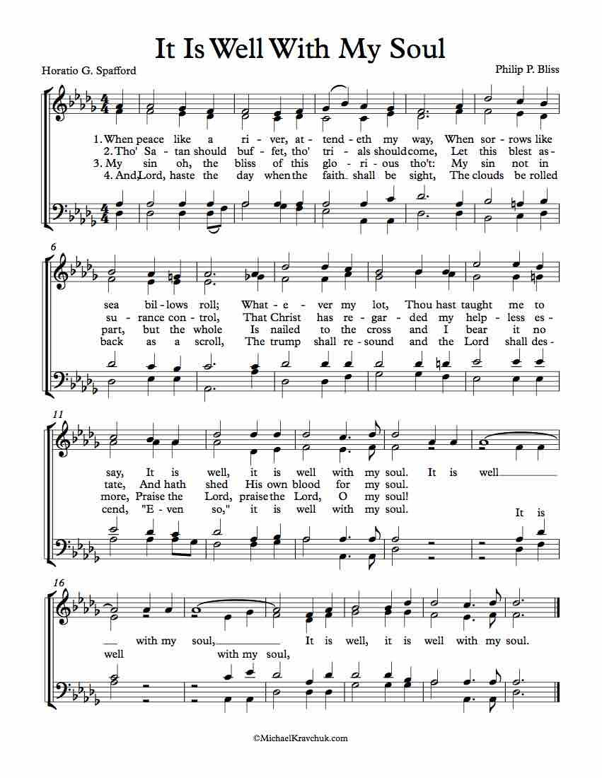 Free Choir Sheet Music It Is Well With My Soul With Images