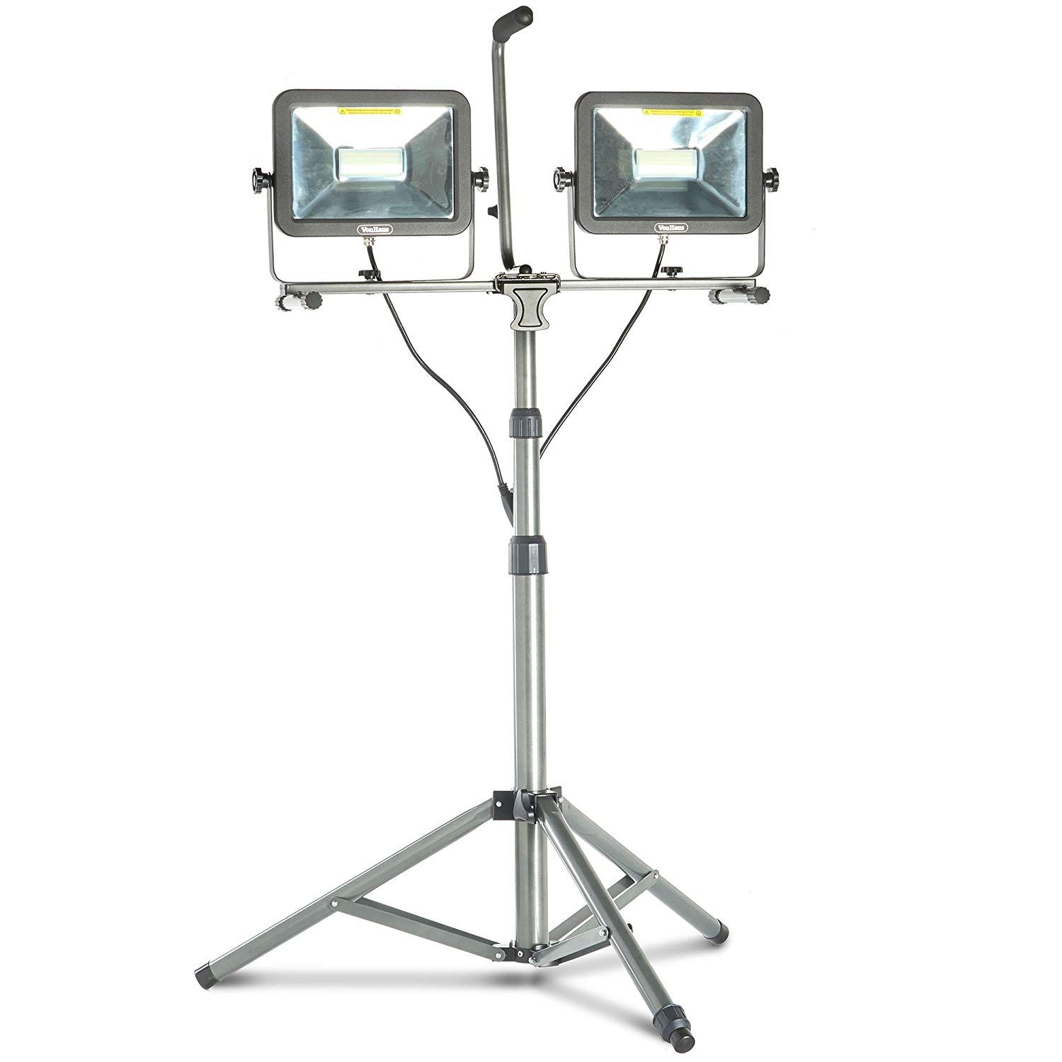 Vonhaus Two Head 10000 Lumen Led Work Light With Detachable Metal Lamp Housing Metal Telescopic Tripod Stand Rotating W With Images Led Work Light Work Lights Metal Lamp