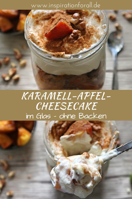 Photo of Karamell-Apfel-Cheesecake mit Walnüssen im Glas – Rezept ohne Backen