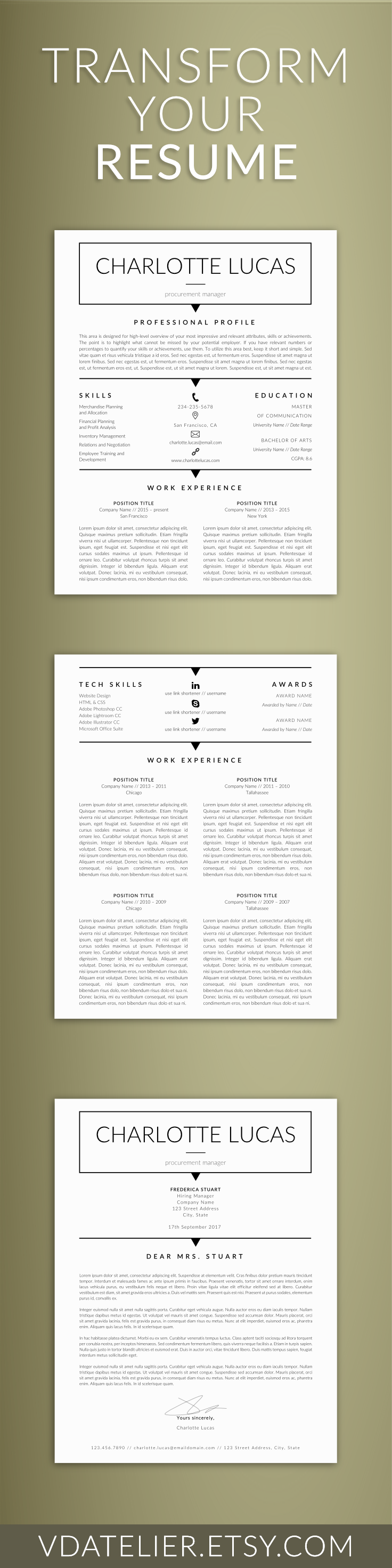 Minimalist Resume Template Minimalist Resume For Ms Word  Cv Clean Printable Resume  Cv .